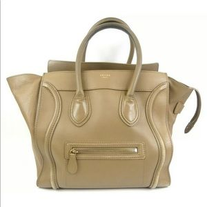 Celine Micro Luggage Beige Calfskin Leather